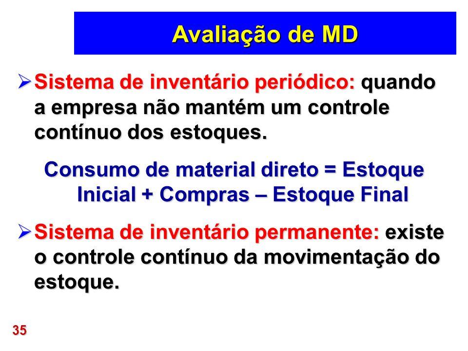 35 Avaliação de MD Sistema de inventário periódico: quando a empresa não mantém um controle contínuo dos estoques. Sistema de inventário periódico: qu