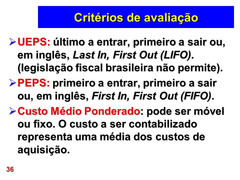 36 Critérios de avaliação UEPS: último a entrar, primeiro a sair ou, em inglês, Last In, First Out (LIFO). (legislação fiscal brasileira não permite).