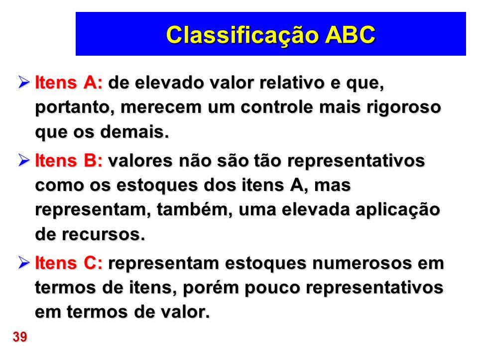 39 Classificação ABC Itens A: de elevado valor relativo e que, portanto, merecem um controle mais rigoroso que os demais. Itens A: de elevado valor re