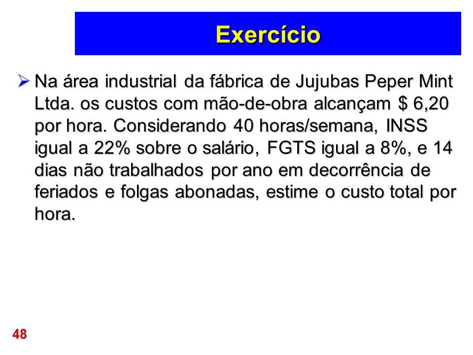 48 Exercício Na área industrial da fábrica de Jujubas Peper Mint Ltda. os custos com mão-de-obra alcançam $ 6,20 por hora. Considerando 40 horas/seman