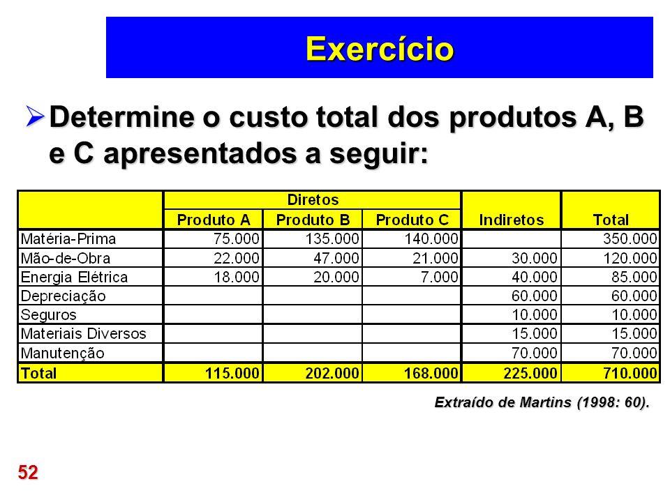 52 Exercício Determine o custo total dos produtos A, B e C apresentados a seguir: Determine o custo total dos produtos A, B e C apresentados a seguir: