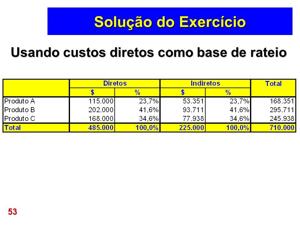 53 Solução do Exercício Usando custos diretos como base de rateio