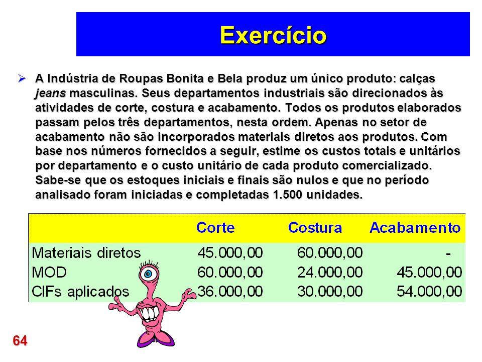 64 Exercício A Indústria de Roupas Bonita e Bela produz um único produto: calças jeans masculinas. Seus departamentos industriais são direcionados às