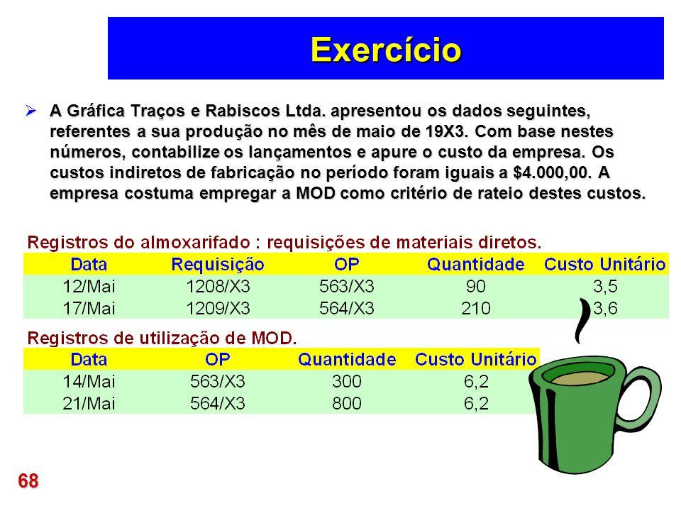 68 Exercício A Gráfica Traços e Rabiscos Ltda. apresentou os dados seguintes, referentes a sua produção no mês de maio de 19X3. Com base nestes número