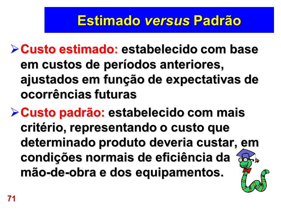 71 Estimado versus Padrão Custo estimado: estabelecido com base em custos de períodos anteriores, ajustados em função de expectativas de ocorrências f