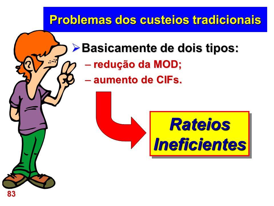 83 Problemas dos custeios tradicionais Basicamente de dois tipos: Basicamente de dois tipos: –redução da MOD; –aumento de CIFs. RateiosIneficientesRat