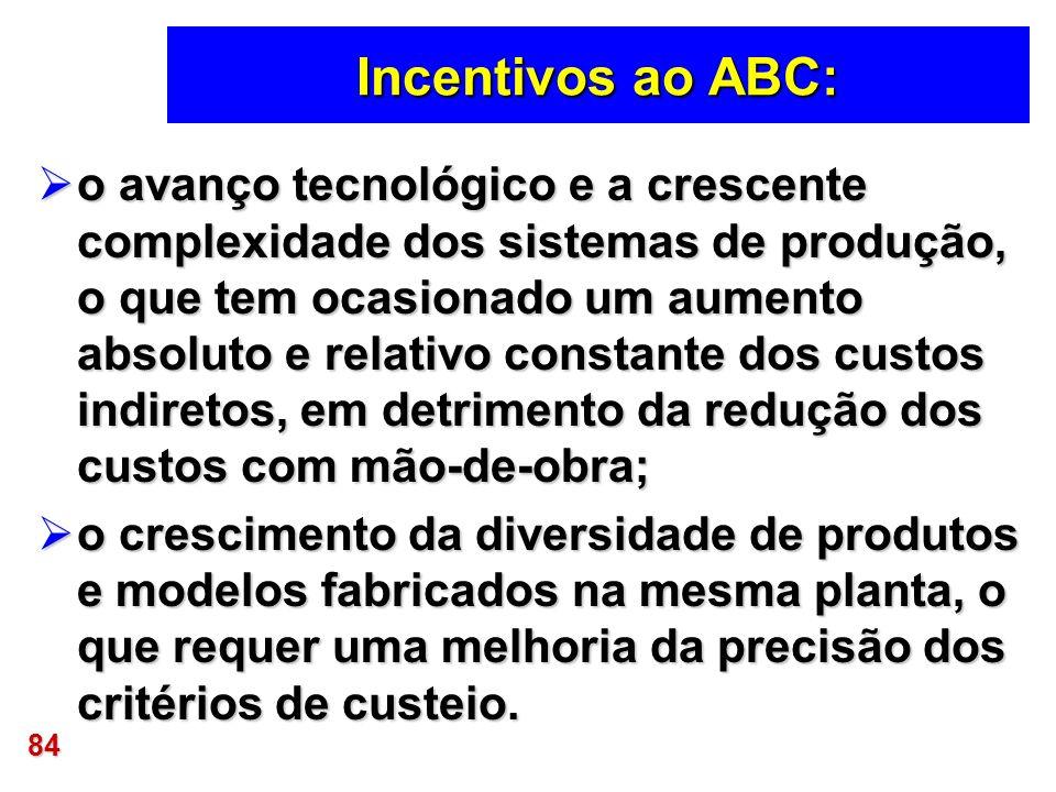 84 Incentivos ao ABC: o avanço tecnológico e a crescente complexidade dos sistemas de produção, o que tem ocasionado um aumento absoluto e relativo co