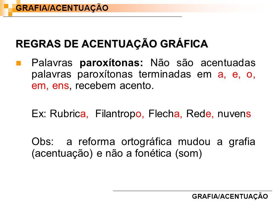 REGRAS DE ACENTUAÇÃO GRÁFICA Palavras paroxítonas: Não são acentuadas palavras paroxítonas terminadas em a, e, o, em, ens, recebem acento. Ex: Rubrica