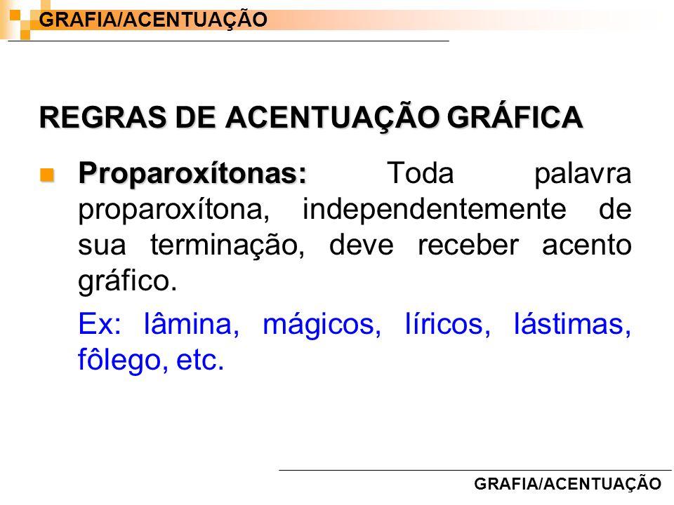 REGRAS DE ACENTUAÇÃO GRÁFICA Proparoxítonas: Proparoxítonas: Toda palavra proparoxítona, independentemente de sua terminação, deve receber acento gráf