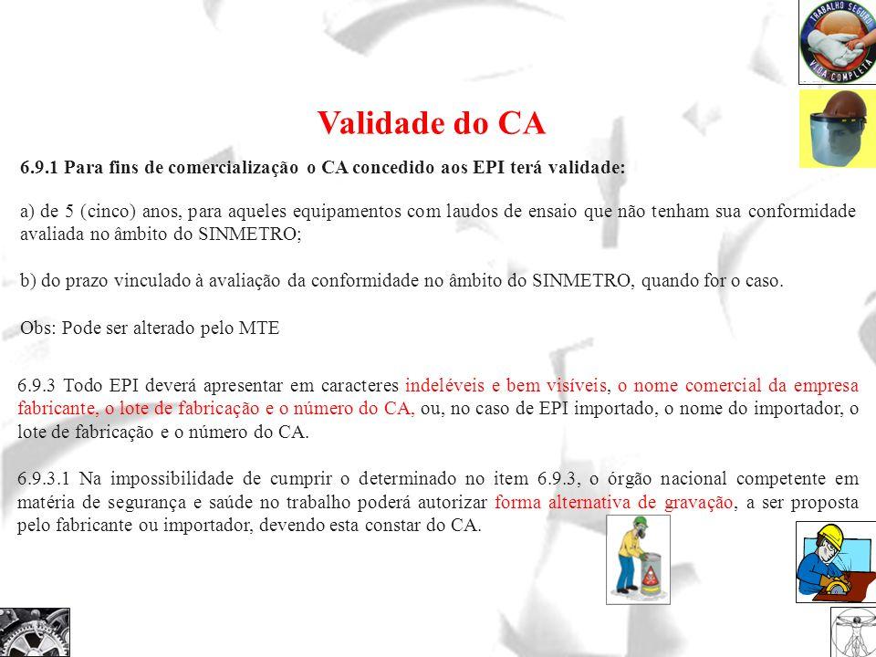 6.9.1 Para fins de comercialização o CA concedido aos EPI terá validade: a) de 5 (cinco) anos, para aqueles equipamentos com laudos de ensaio que não