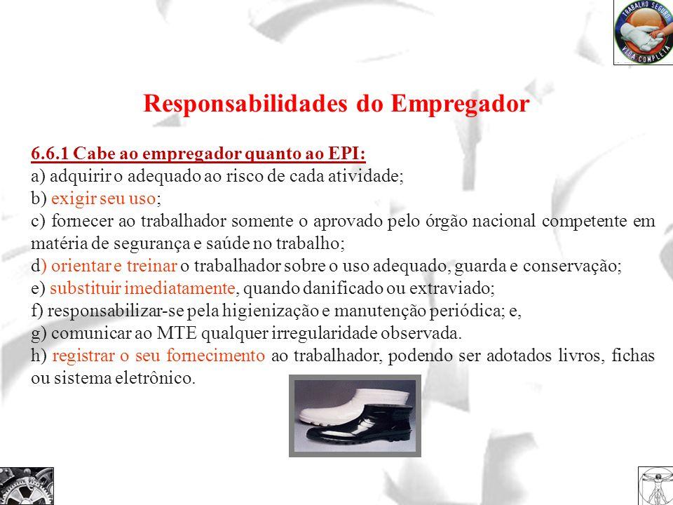 Responsabilidades do Empregador 6.6.1 Cabe ao empregador quanto ao EPI: a) adquirir o adequado ao risco de cada atividade; b) exigir seu uso; c) forne