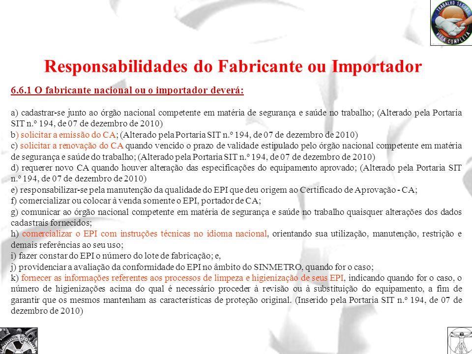 6.6.1 O fabricante nacional ou o importador deverá: a) cadastrar-se junto ao órgão nacional competente em matéria de segurança e saúde no trabalho; (A