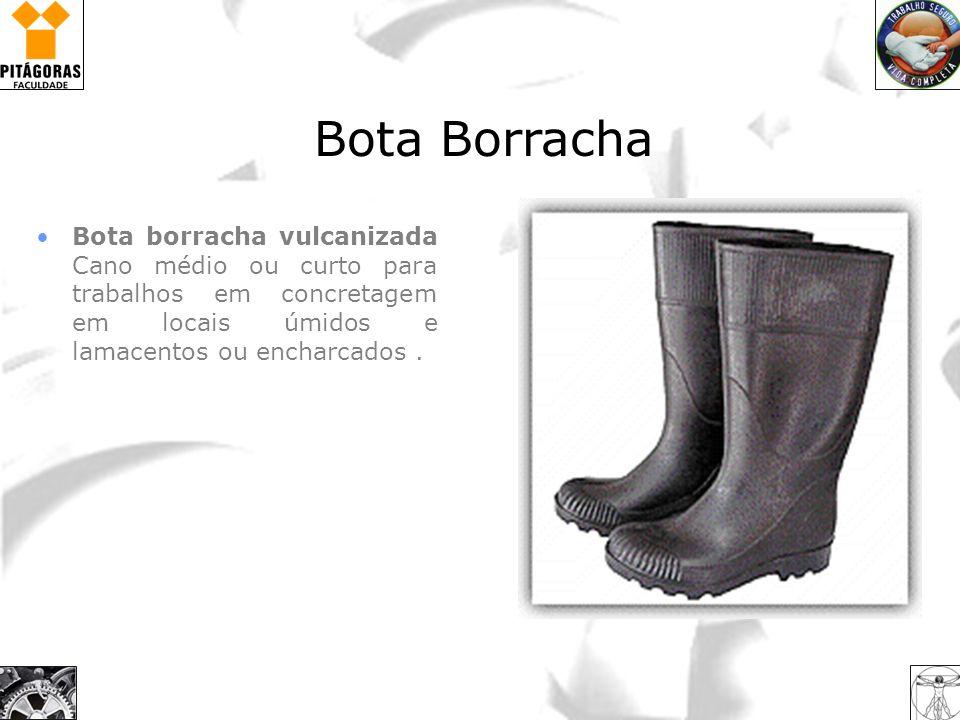Bota borracha vulcanizada Cano médio ou curto para trabalhos em concretagem em locais úmidos e lamacentos ou encharcados. Bota Borracha
