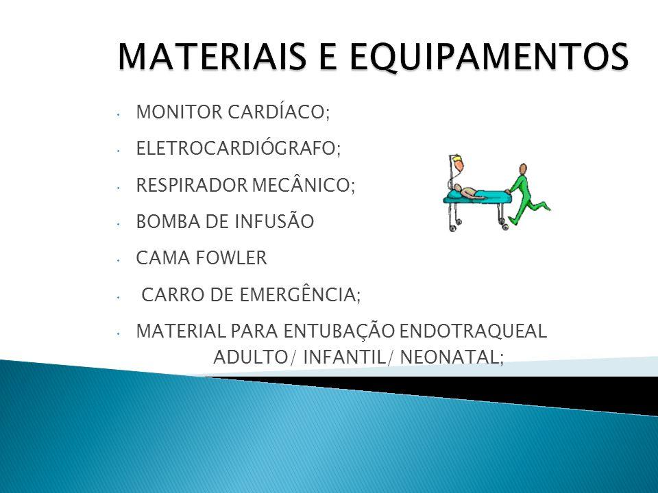 MONITOR CARDÍACO; ELETROCARDIÓGRAFO; RESPIRADOR MECÂNICO; BOMBA DE INFUSÃO CAMA FOWLER CARRO DE EMERGÊNCIA; MATERIAL PARA ENTUBAÇÃO ENDOTRAQUEAL ADULT
