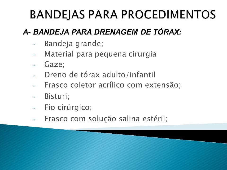 Bandeja grande; Material para pequena cirurgia Gaze; Dreno de tórax adulto/infantil Frasco coletor acrílico com extensão; Bisturi; Fio cirúrgico; Fras