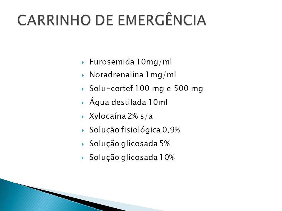 Furosemida 10mg/ml Noradrenalina 1mg/ml Solu-cortef 100 mg e 500 mg Água destilada 10ml Xylocaína 2% s/a Solução fisiológica 0,9% Solução glicosada 5%