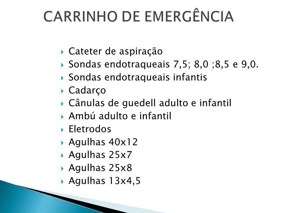 Cateter de aspiração Sondas endotraqueais 7,5; 8,0 ;8,5 e 9,0. Sondas endotraqueais infantis Cadarço Cânulas de guedell adulto e infantil Ambú adulto