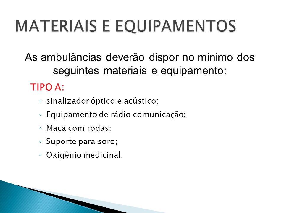 TIPO A: sinalizador óptico e acústico; Equipamento de rádio comunicação; Maca com rodas; Suporte para soro; Oxigênio medicinal. As ambulâncias deverão