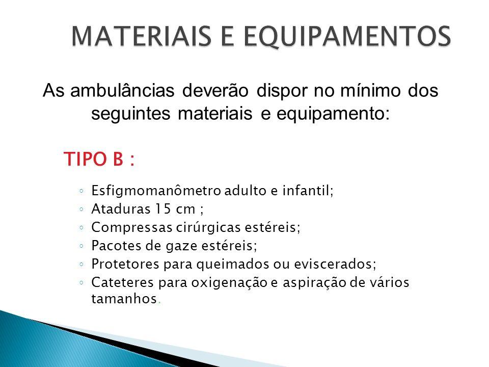 TIPO B : Esfigmomanômetro adulto e infantil; Ataduras 15 cm ; Compressas cirúrgicas estéreis; Pacotes de gaze estéreis; Protetores para queimados ou e