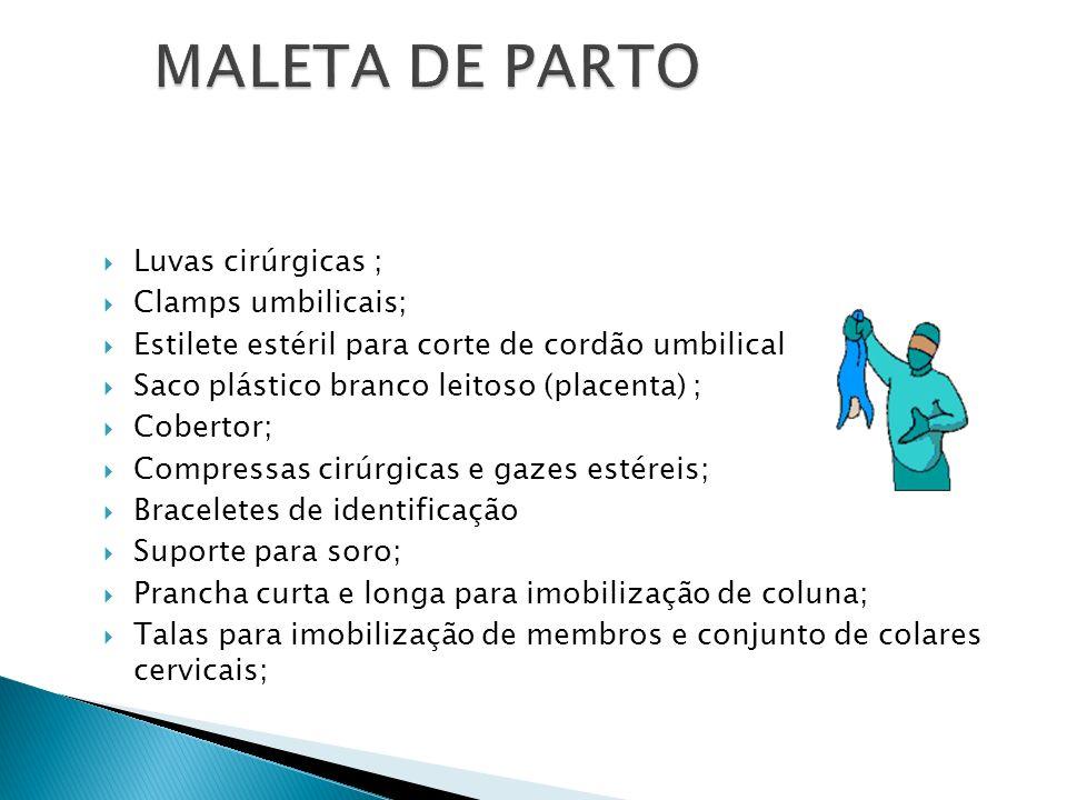 Luvas cirúrgicas ; Clamps umbilicais; Estilete estéril para corte de cordão umbilical Saco plástico branco leitoso (placenta) ; Cobertor; Compressas c