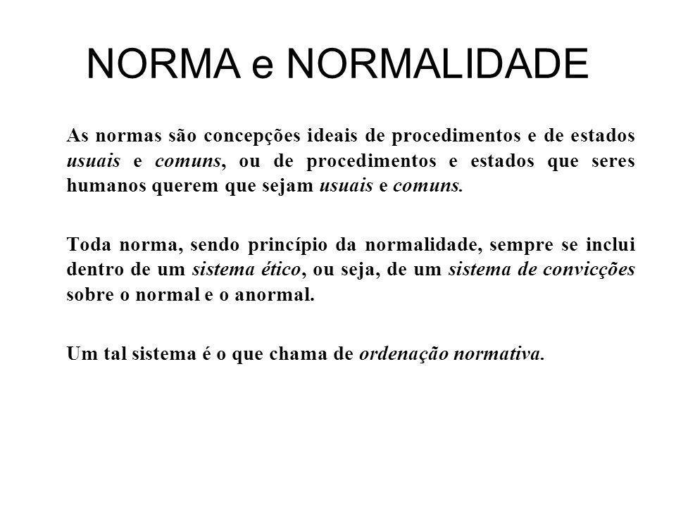 NORMA e NORMALIDADE As normas são concepções ideais de procedimentos e de estados usuais e comuns, ou de procedimentos e estados que seres humanos querem que sejam usuais e comuns.
