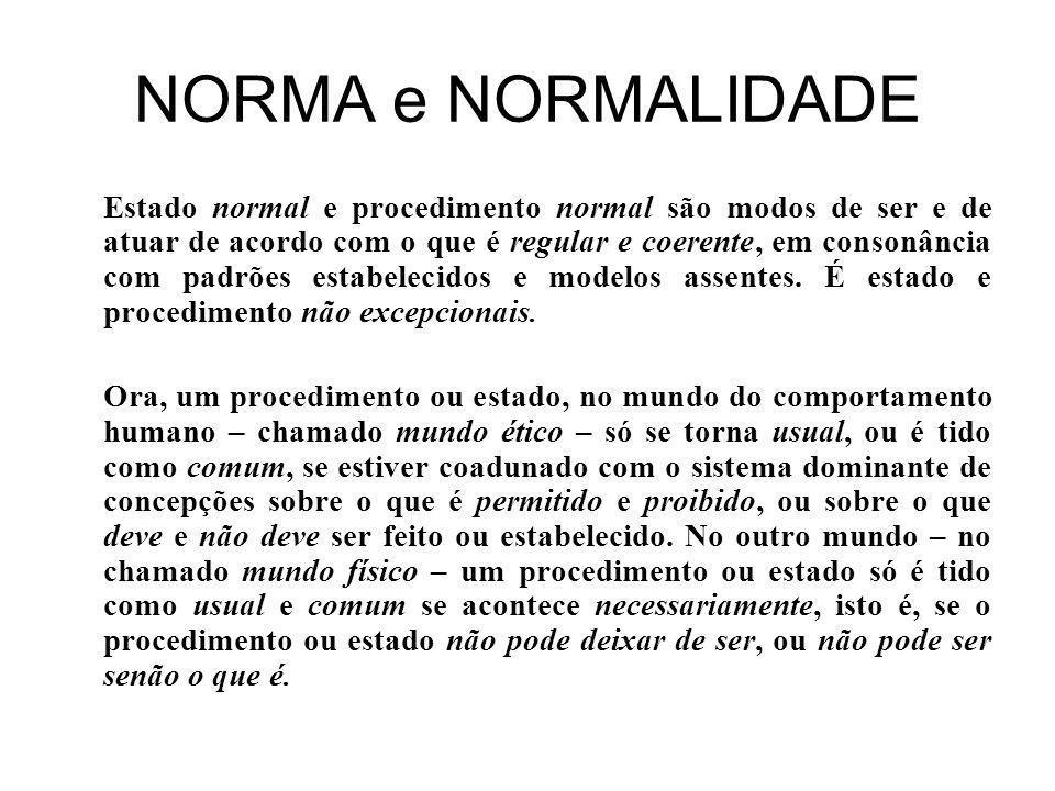 NORMA e NORMALIDADE Estado normal e procedimento normal são modos de ser e de atuar de acordo com o que é regular e coerente, em consonância com padrões estabelecidos e modelos assentes.