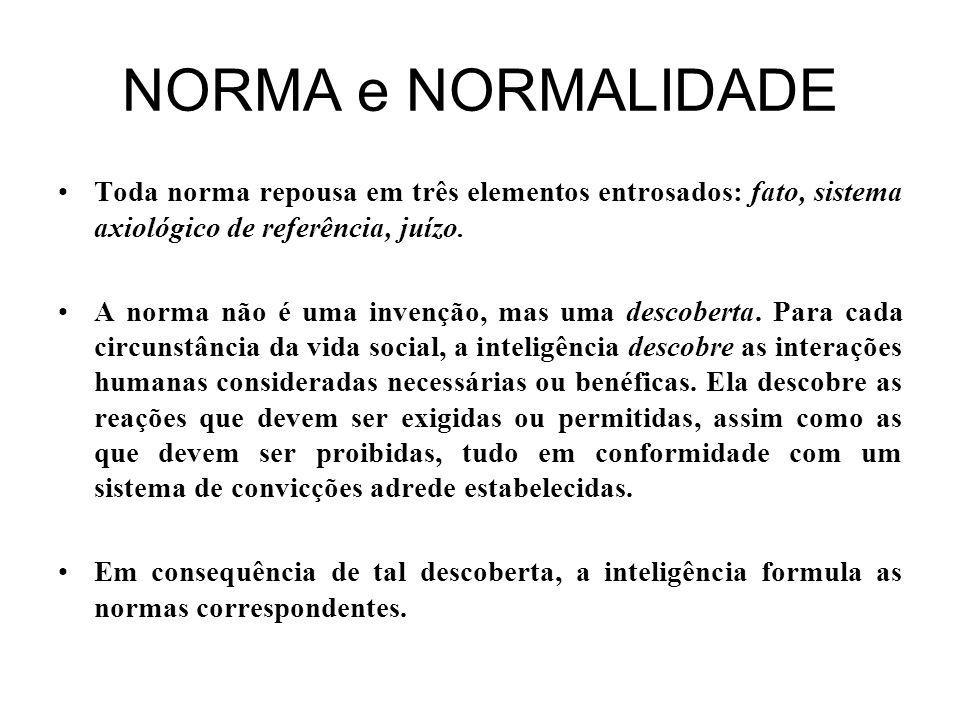 NORMA e NORMALIDADE Toda norma repousa em três elementos entrosados: fato, sistema axiológico de referência, juízo.