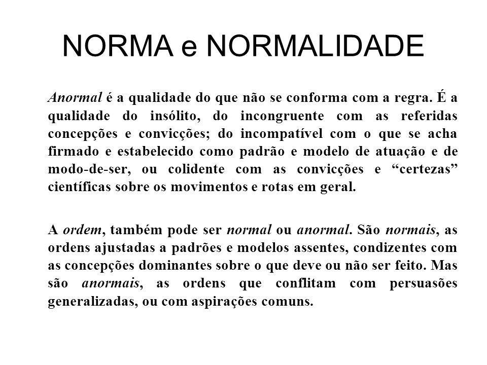 NORMA e NORMALIDADE Anormal é a qualidade do que não se conforma com a regra.