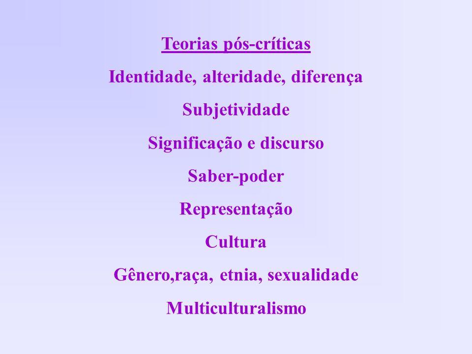 Teorias pós-críticas Identidade, alteridade, diferença Subjetividade Significação e discurso Saber-poder Representação Cultura Gênero,raça, etnia, sex