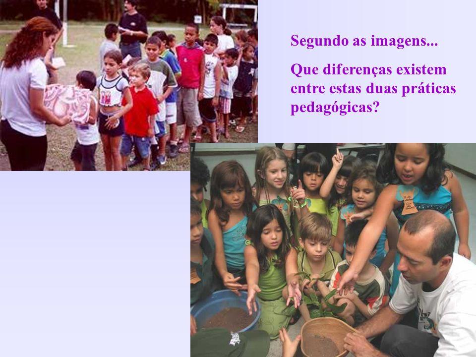 Segundo as imagens... Que diferenças existem entre estas duas práticas pedagógicas?