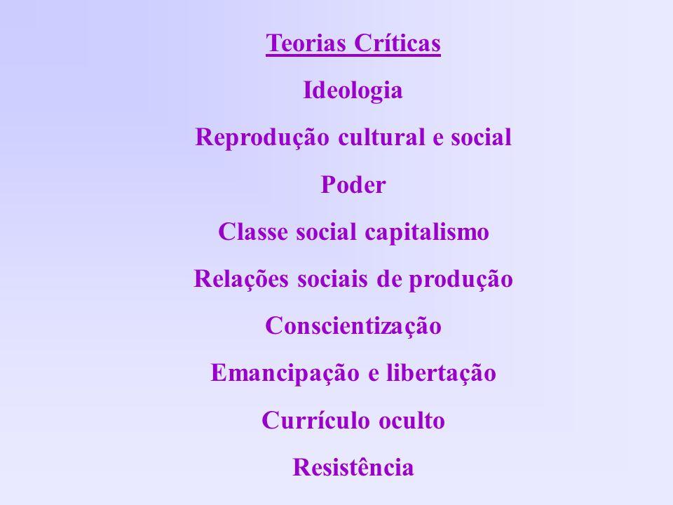 Teorias Críticas Ideologia Reprodução cultural e social Poder Classe social capitalismo Relações sociais de produção Conscientização Emancipação e lib