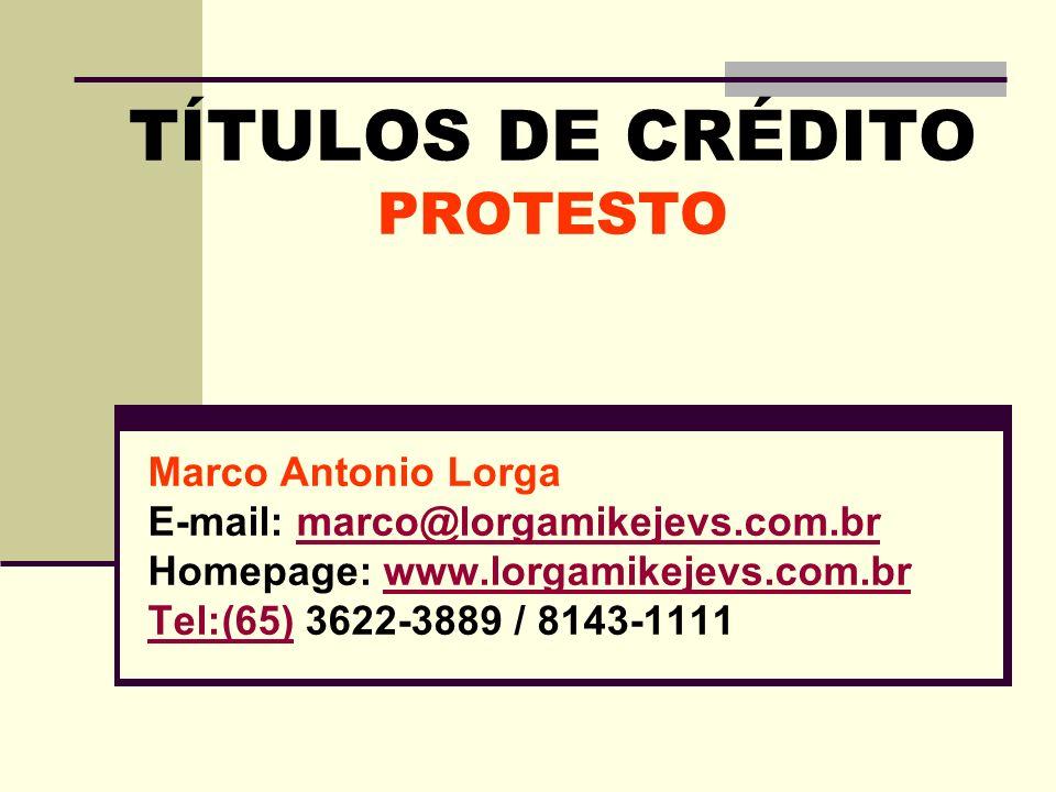 TÍTULOS DE CRÉDITO PROTESTO Marco Antonio Lorga E-mail: marco@lorgamikejevs.com.brmarco@lorgamikejevs.com.br Homepage: www.lorgamikejevs.com.brwww.lor