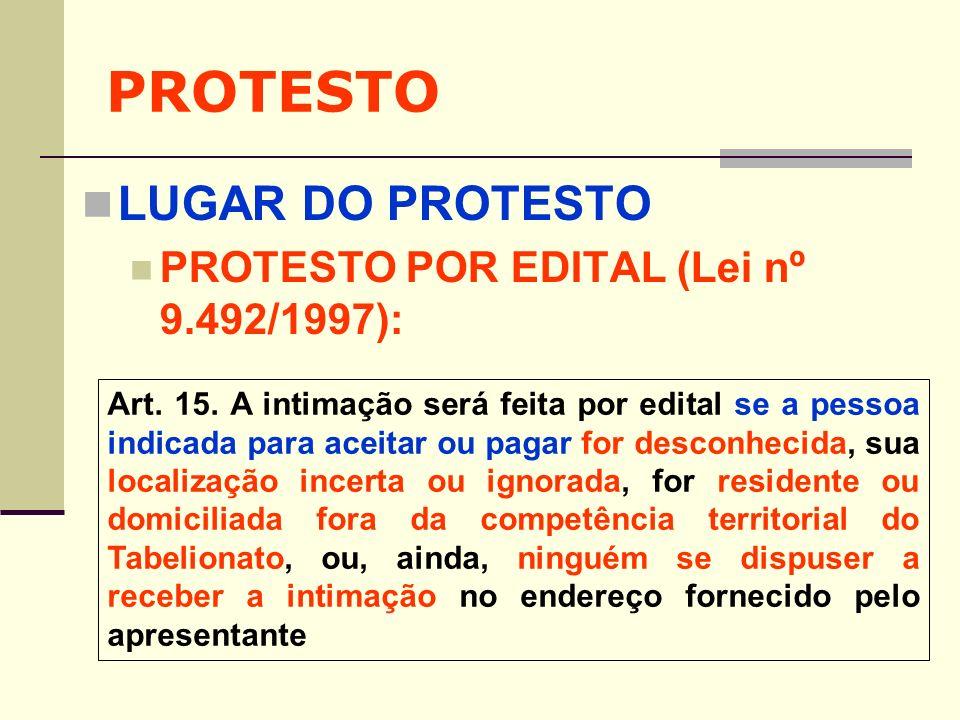 PROTESTO LUGAR DO PROTESTO PROTESTO POR EDITAL (Lei nº 9.492/1997): Art. 15. A intimação será feita por edital se a pessoa indicada para aceitar ou pa