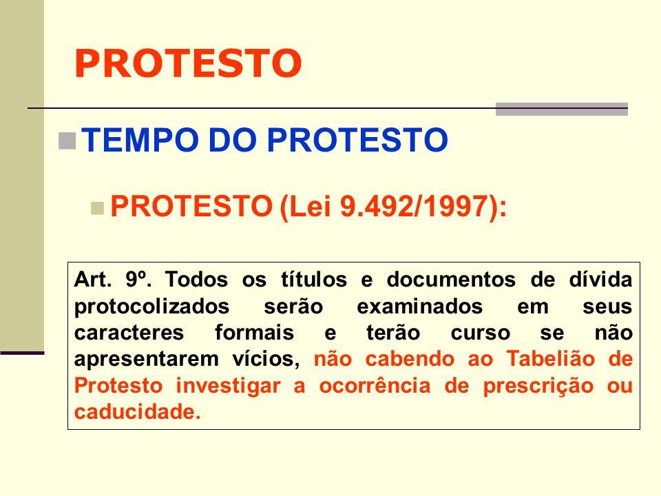 PROTESTO TEMPO DO PROTESTO PROTESTO (Lei 9.492/1997): Art. 9º. Todos os títulos e documentos de dívida protocolizados serão examinados em seus caracte
