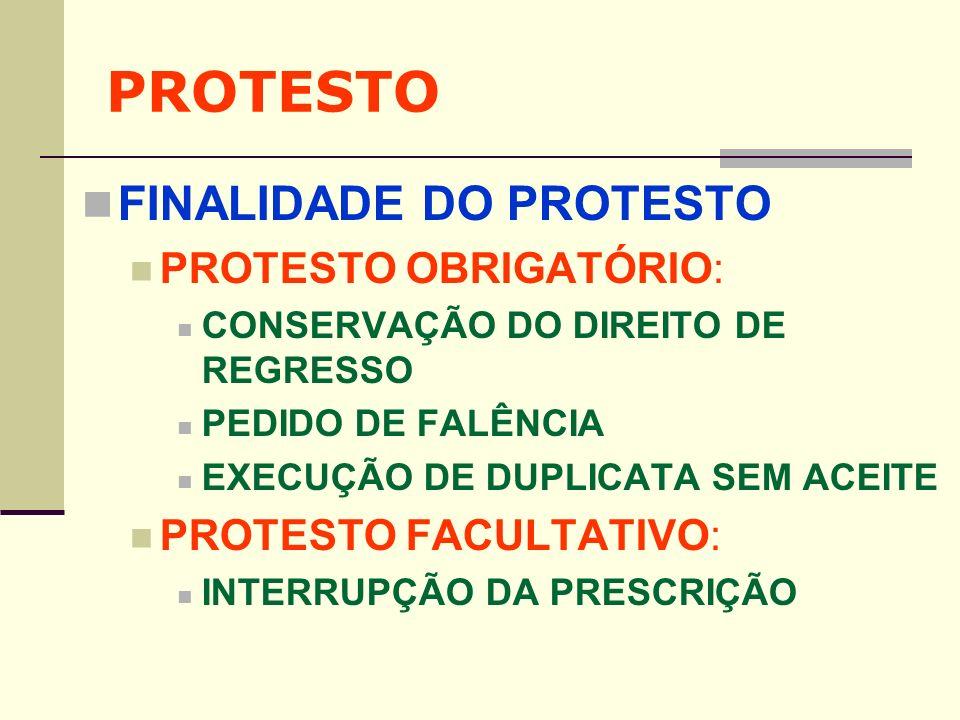 PROTESTO FINALIDADE DO PROTESTO PROTESTO OBRIGATÓRIO: CONSERVAÇÃO DO DIREITO DE REGRESSO PEDIDO DE FALÊNCIA EXECUÇÃO DE DUPLICATA SEM ACEITE PROTESTO