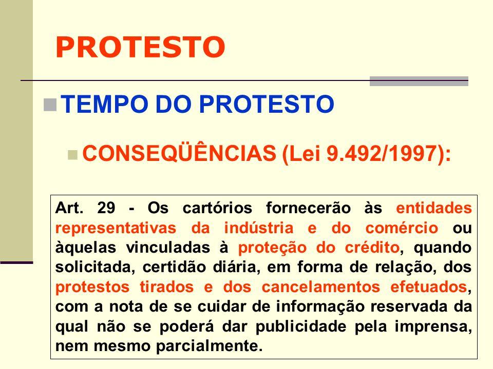 PROTESTO TEMPO DO PROTESTO CONSEQÜÊNCIAS (Lei 9.492/1997): Art. 29 - Os cartórios fornecerão às entidades representativas da indústria e do comércio o