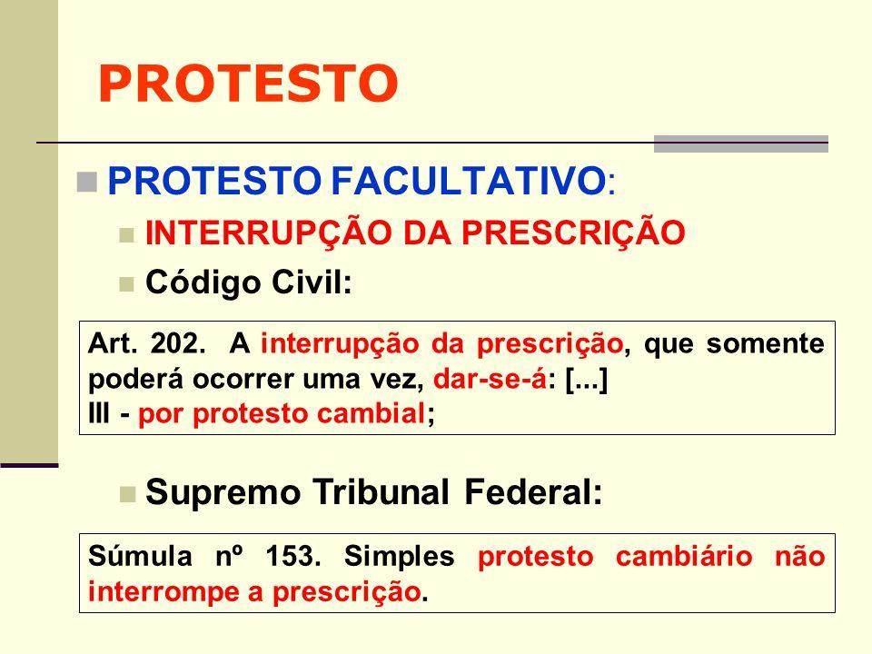 PROTESTO PROTESTO FACULTATIVO: INTERRUPÇÃO DA PRESCRIÇÃO Código Civil: Art. 202. A interrupção da prescrição, que somente poderá ocorrer uma vez, dar-