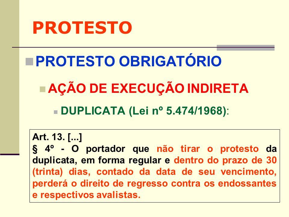 PROTESTO PROTESTO OBRIGATÓRIO AÇÃO DE EXECUÇÃO INDIRETA DUPLICATA (Lei nº 5.474/1968): Art. 13. [...] § 4º - O portador que não tirar o protesto da du