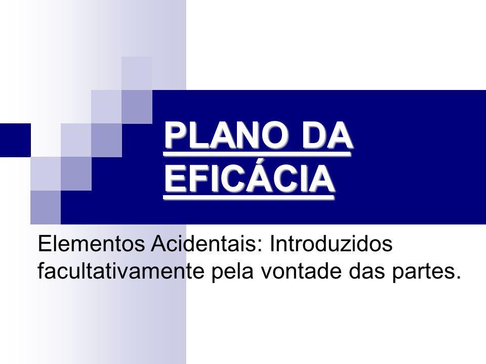 PLANO DA EFICÁCIA Elementos Acidentais: Introduzidos facultativamente pela vontade das partes.