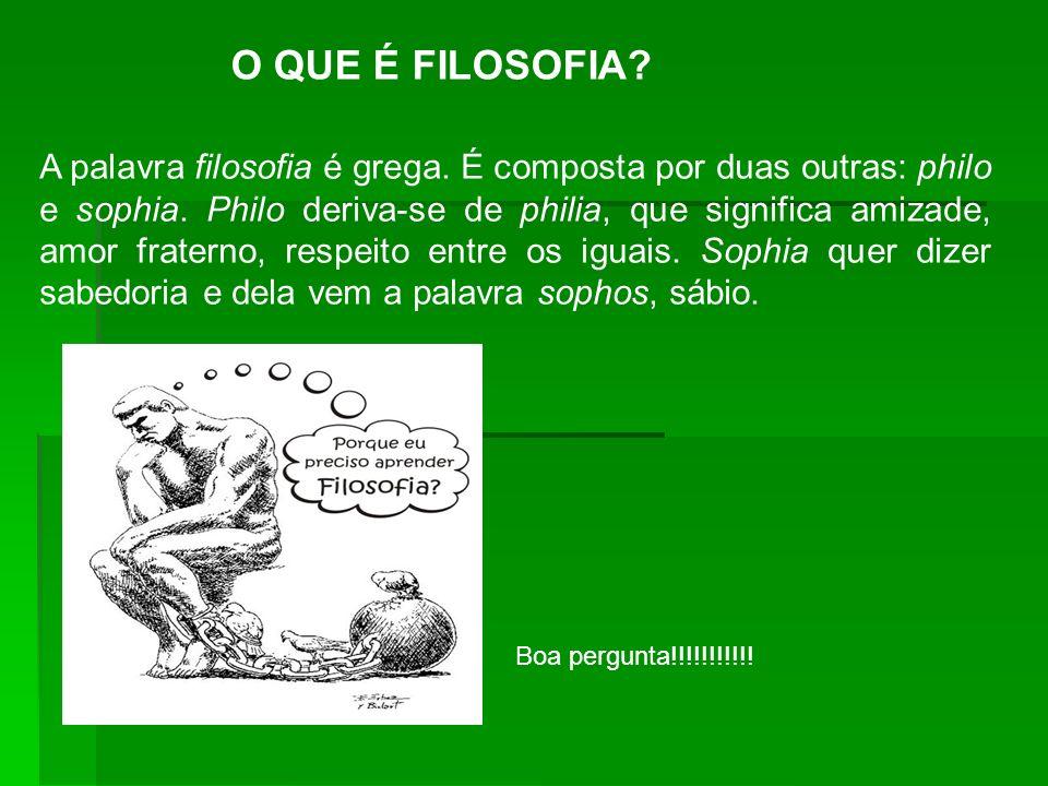 O QUE É FILOSOFIA? A palavra filosofia é grega. É composta por duas outras: philo e sophia. Philo deriva-se de philia, que significa amizade, amor fra