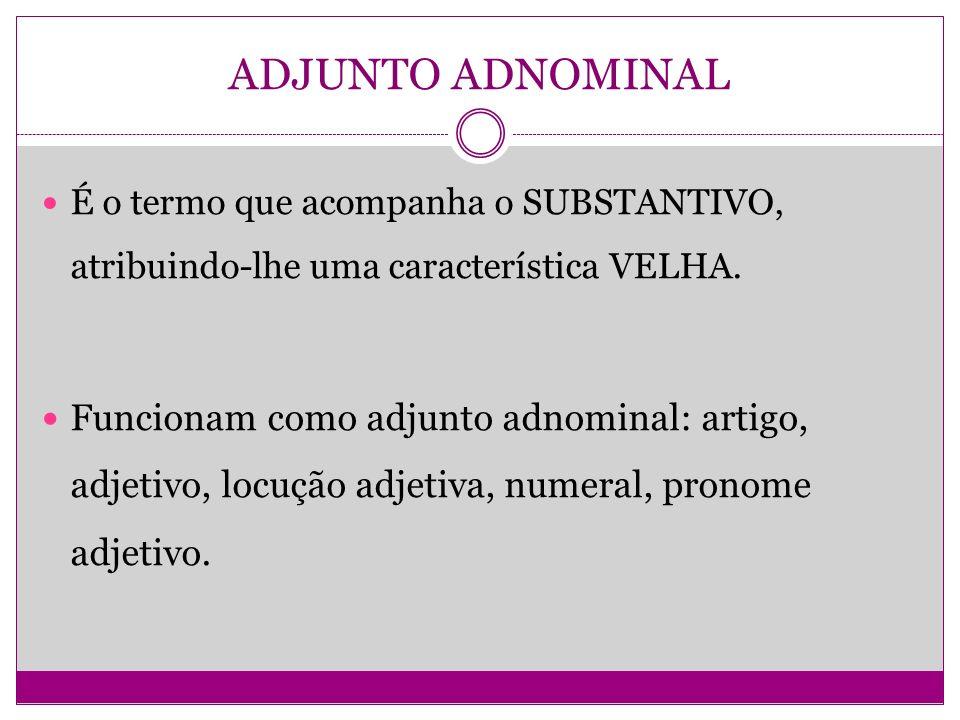ADJUNTO ADNOMINAL É o termo que acompanha o SUBSTANTIVO, atribuindo-lhe uma característica VELHA. Funcionam como adjunto adnominal: artigo, adjetivo,