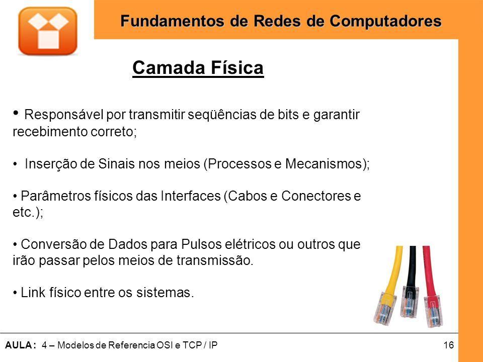 16AULA : 4 – Modelos de Referencia OSI e TCP / IP Fundamentos de Redes de Computadores Camada Física Responsável por transmitir seqüências de bits e g