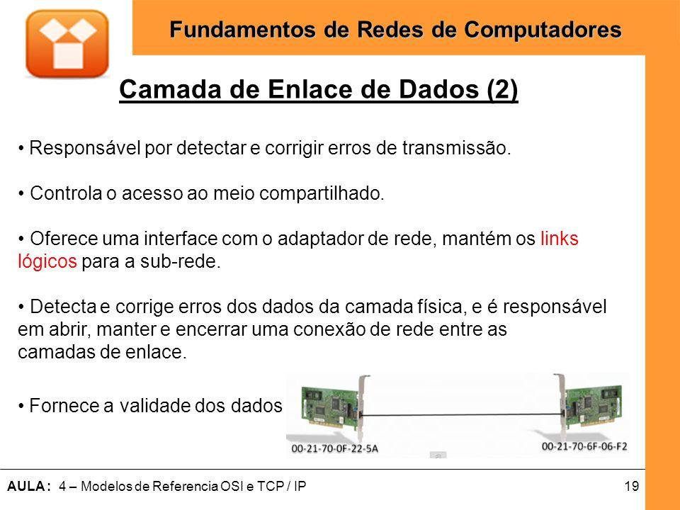 19AULA : 4 – Modelos de Referencia OSI e TCP / IP Fundamentos de Redes de Computadores Camada de Enlace de Dados (2) Responsável por detectar e corrig