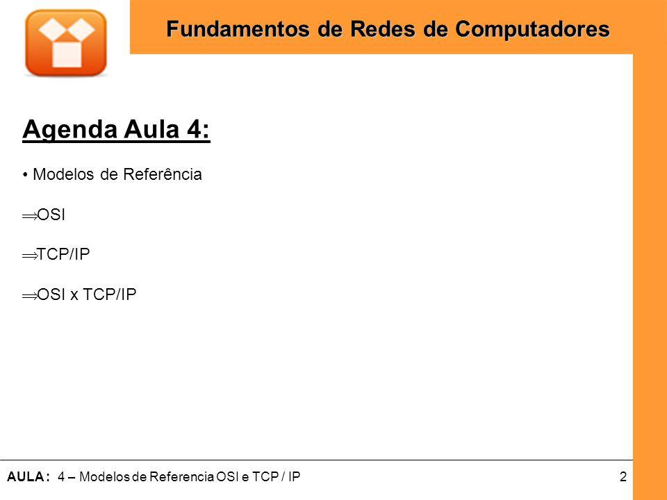 2AULA : 4 – Modelos de Referencia OSI e TCP / IP Fundamentos de Redes de Computadores Agenda Aula 4: Modelos de Referência OSI TCP/IP OSI x TCP/IP