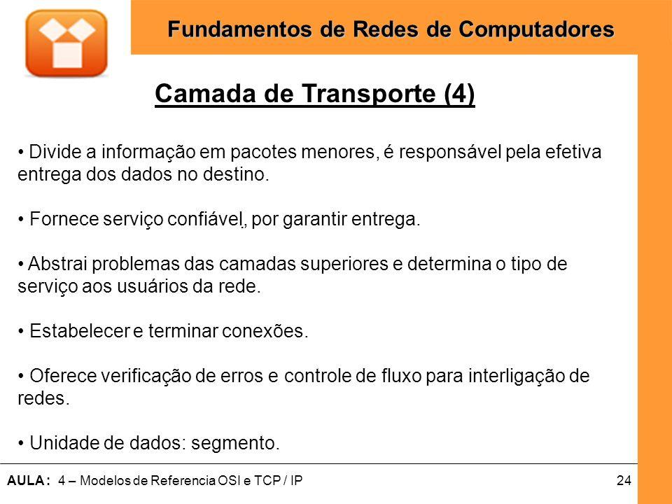 24AULA : 4 – Modelos de Referencia OSI e TCP / IP Fundamentos de Redes de Computadores Camada de Transporte (4) Divide a informação em pacotes menores
