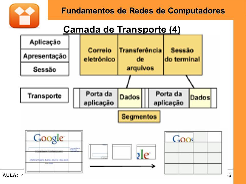 26AULA : 4 – Modelos de Referencia OSI e TCP / IP Fundamentos de Redes de Computadores Camada de Transporte (4)