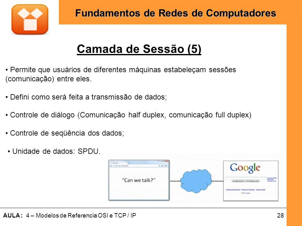 28AULA : 4 – Modelos de Referencia OSI e TCP / IP Fundamentos de Redes de Computadores Camada de Sessão (5) Permite que usuários de diferentes máquina