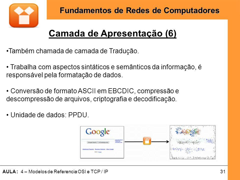 31AULA : 4 – Modelos de Referencia OSI e TCP / IP Fundamentos de Redes de Computadores Camada de Apresentação (6) Também chamada de camada de Tradução