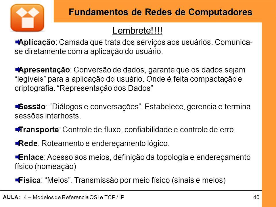 40AULA : 4 – Modelos de Referencia OSI e TCP / IP Fundamentos de Redes de Computadores Aplicação: Camada que trata dos serviços aos usuários. Comunica