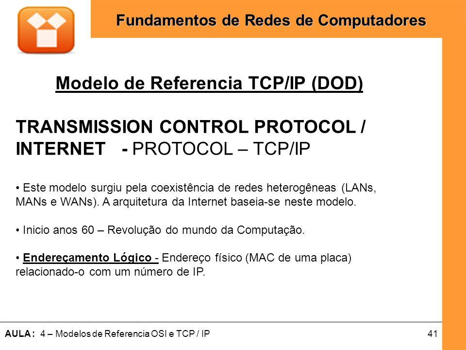 41AULA : 4 – Modelos de Referencia OSI e TCP / IP Fundamentos de Redes de Computadores Modelo de Referencia TCP/IP (DOD) TRANSMISSION CONTROL PROTOCOL